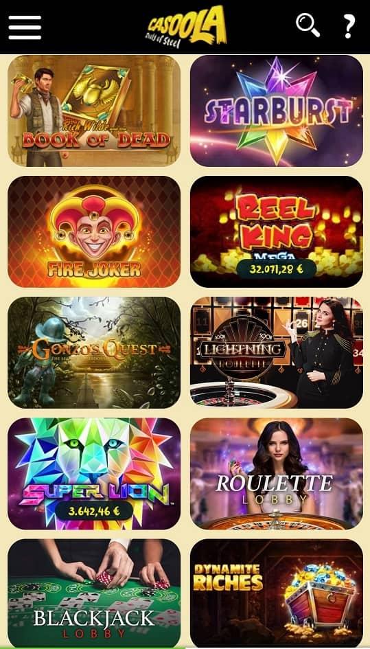 Offre de jeux de casino Casoola