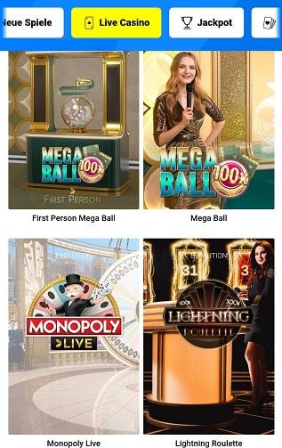 sensations fortes du casino en direct