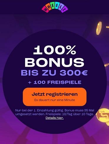 Bonus de casino Wheelz et Tours gratuits